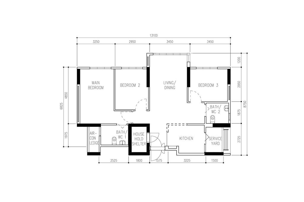 Scandinavian, HDB, Bidadari Park Drive, Interior Designer, Noble Interior Design, Contemporary, 4 Room Hdb Floorplan, Original Floorplan