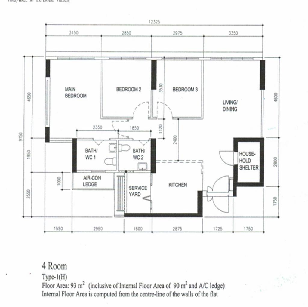 Contemporary, HDB, Tampines Street 61, Interior Designer, Todz'Terior, Scandinavian, 4 Room Hdb Floorplan, 4 Room Type 1 H, Original Floorplan