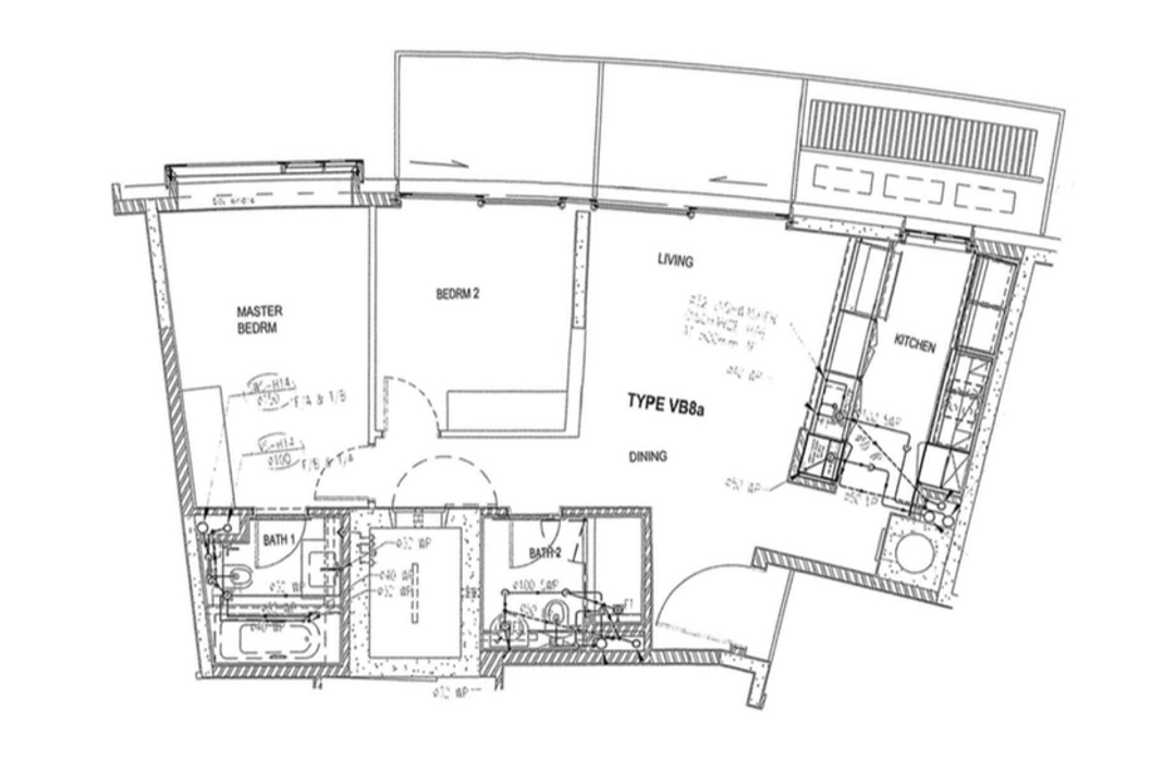 Reflections at Keppel Bay, Fifth Avenue Interior, Modern, Scandinavian, Condo, 2 Bedder Condo Floorplan, Type Vb 8 A, Original Floorplan