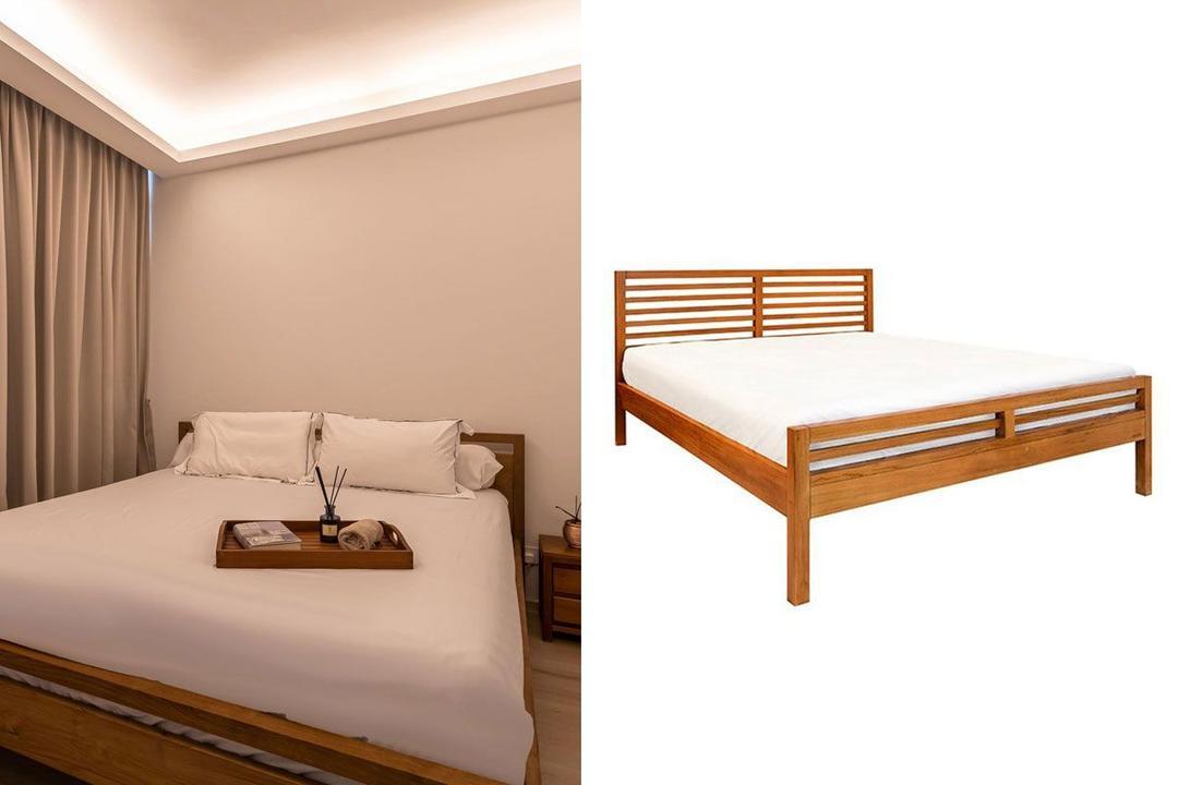 Shopee Qanvast Picks Scanteak Wooden Bed Frame (Queen)