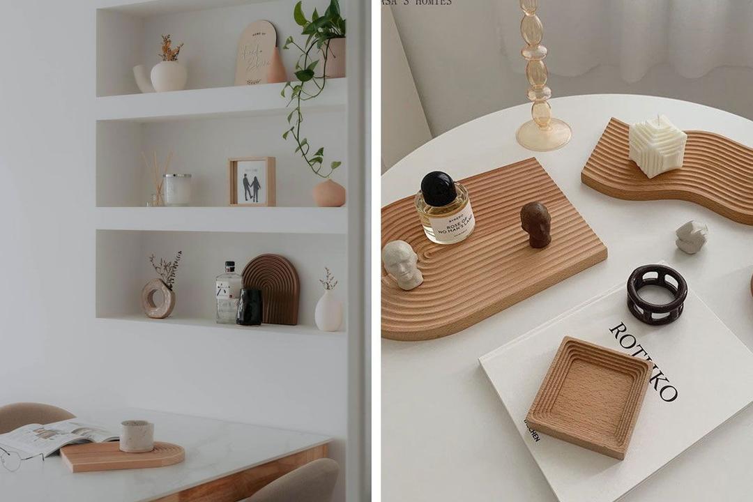 Shopee Qanvast Picks Wooden Ripple Nordic Tray Decor