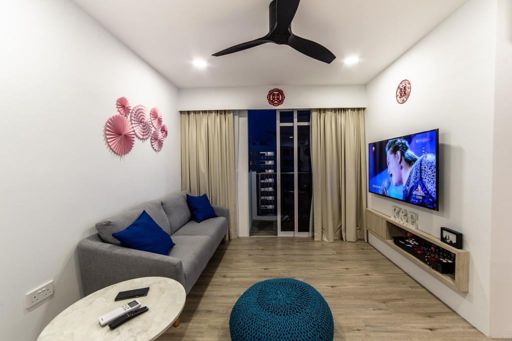 Contemporary, HDB, Living Room, Compassvale Crescent, Interior Designer, Builders Plus, Scandinavian
