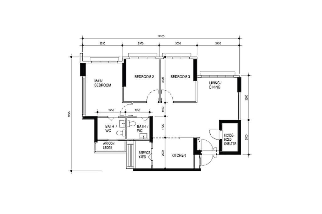 Contemporary, HDB, Bedok South Road, Interior Designer, Noble Interior Design, 4 Room Hdb Floorplan, Original Floorplan