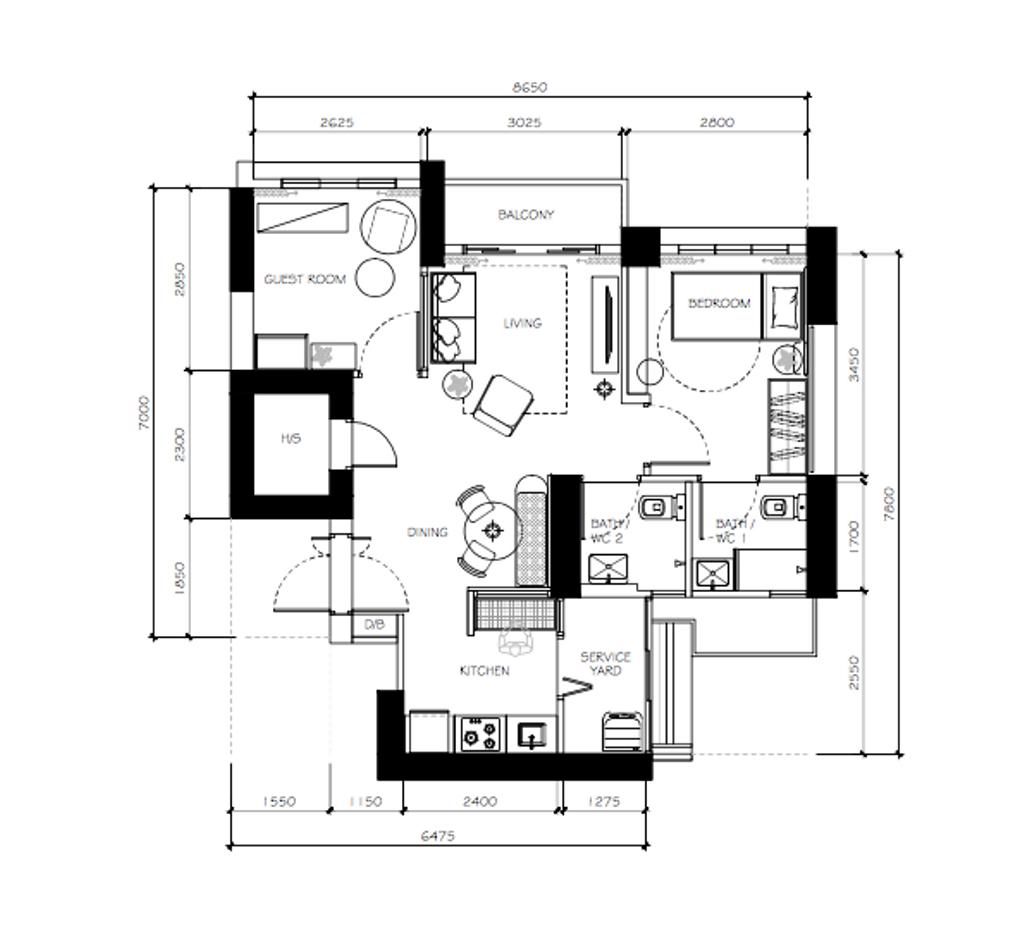 Contemporary, HDB, Dawson, Interior Designer, Happe Design Atelier, Eclectic, 3 Room Hdb Floorplan, Final Floorplan