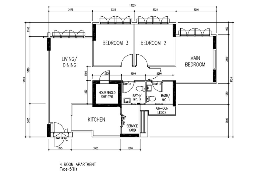 Chai Chee Road, A Blue Cube Design, Scandinavian, HDB, 4 Room Hdb Floorplan, 4 Room Apartment, Type 5 H, Original Floorplan