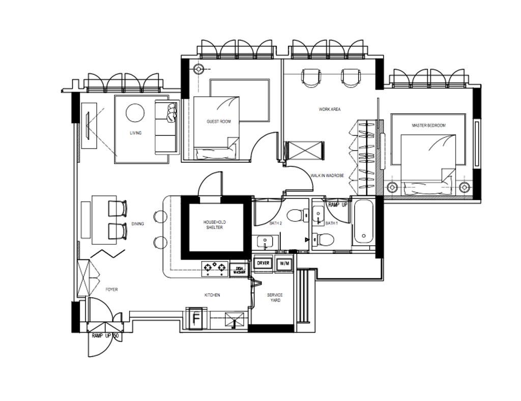 Scandinavian, HDB, Chai Chee Road, Interior Designer, A Blue Cube Design, 4 Room Hdb Floorplan, 4 Room Apartment, Type 5 H, Final Floorplan