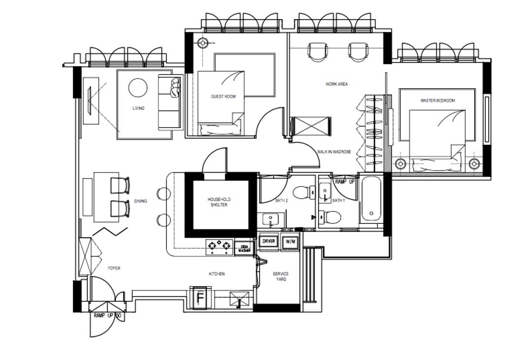 Chai Chee Road, A Blue Cube Design, Scandinavian, HDB, 4 Room Hdb Floorplan, 4 Room Apartment, Type 5 H, Final Floorplan