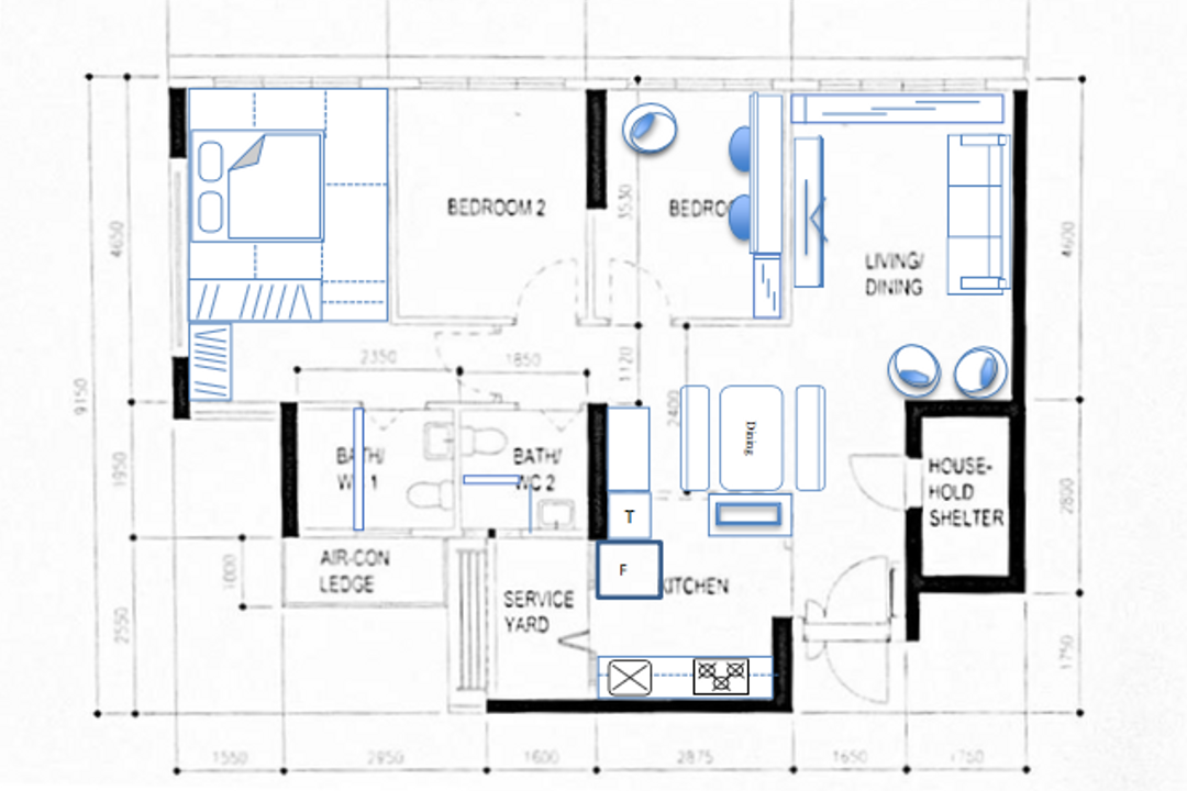 Tampines Street 61, The Local Project, Scandinavian, HDB, 4 Room Hdb Floorplan, Final Floorplan