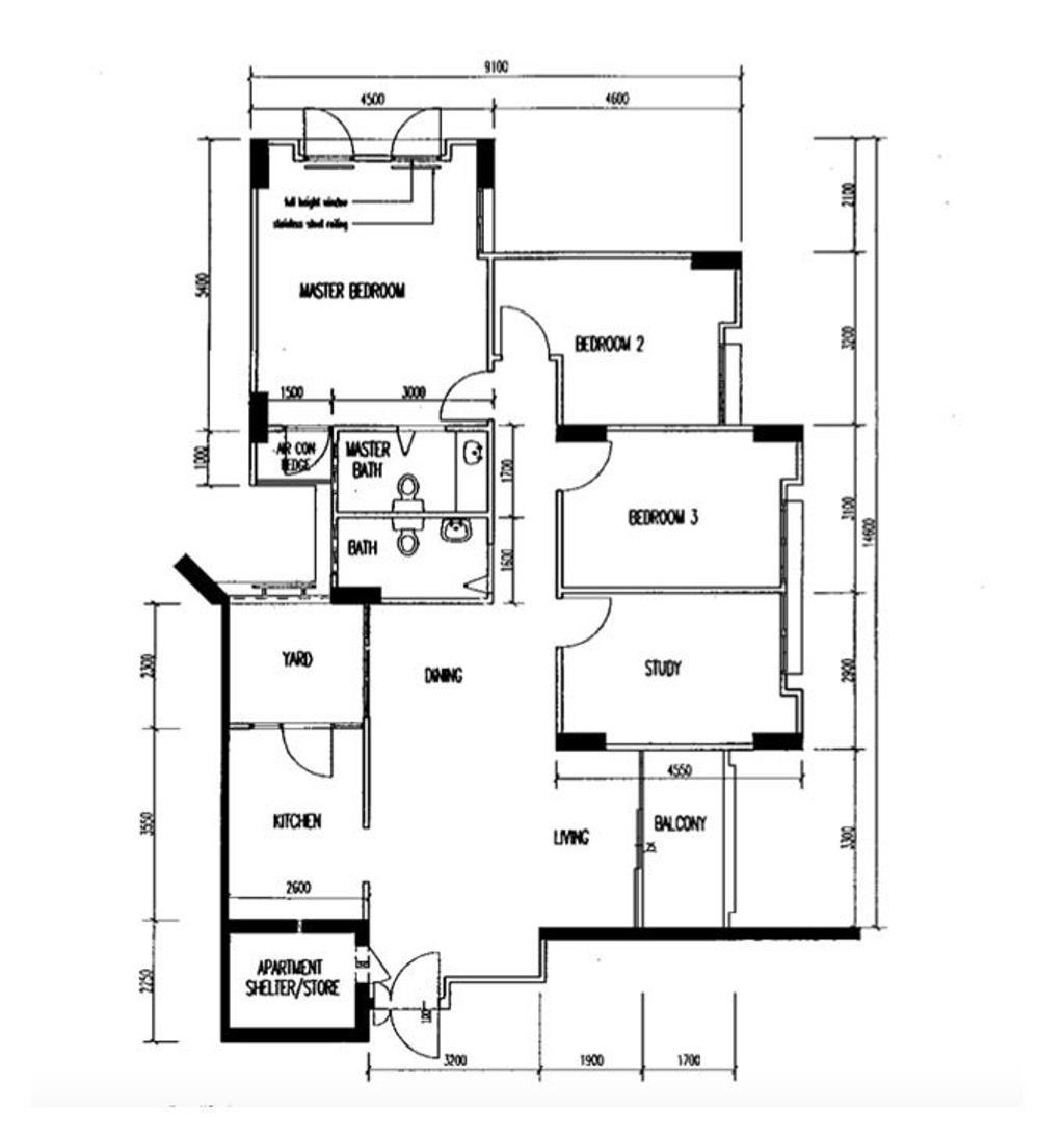 Contemporary, HDB, Jurong West Central 1, Interior Designer, Yang's Inspiration Design, Executive Apartment Hdb Floorplan, Executive Apartment, Type C Apartment, Type C 2 C, Original Floorplan