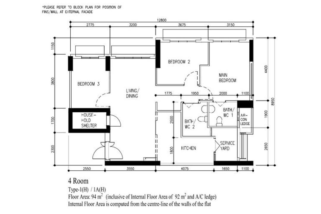 Northshore Drive, Yang's Inspiration Design, Scandinavian, HDB, 4 Room Hdb Floorplan, 4 Room Type 1 H 1 A H, Original Floorplan