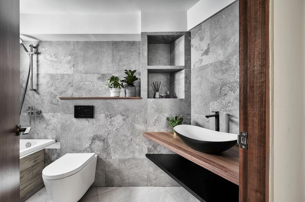 Industrial, HDB, Bathroom, Corporation Drive, Interior Designer, Notion of W, Contemporary