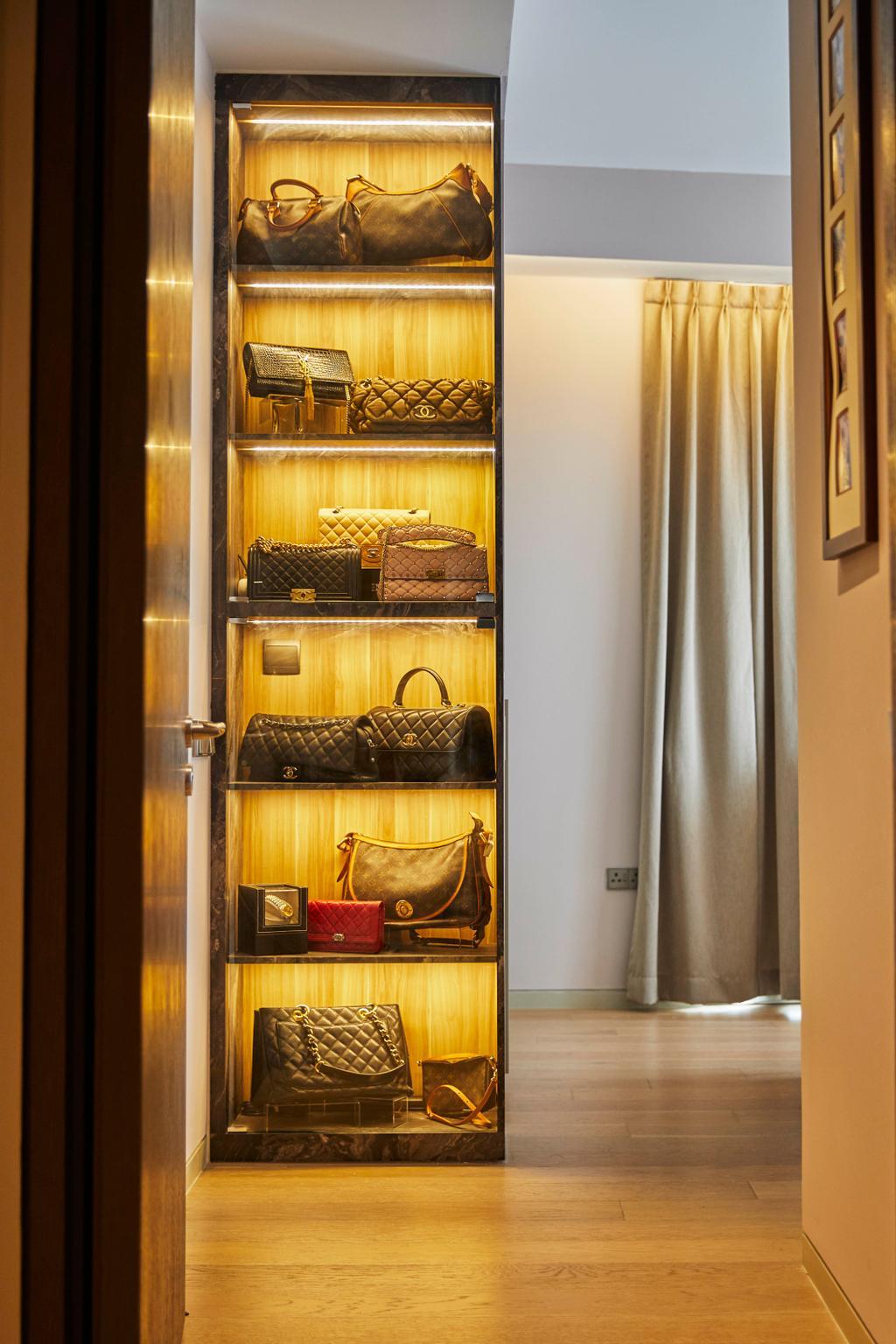 Contemporary, Condo, Bedroom, Corals at Keppel Bay, Interior Designer, PRDT Interiors, Wardrobe, Walk In Wardrobe, Bags, Display, Collectibles