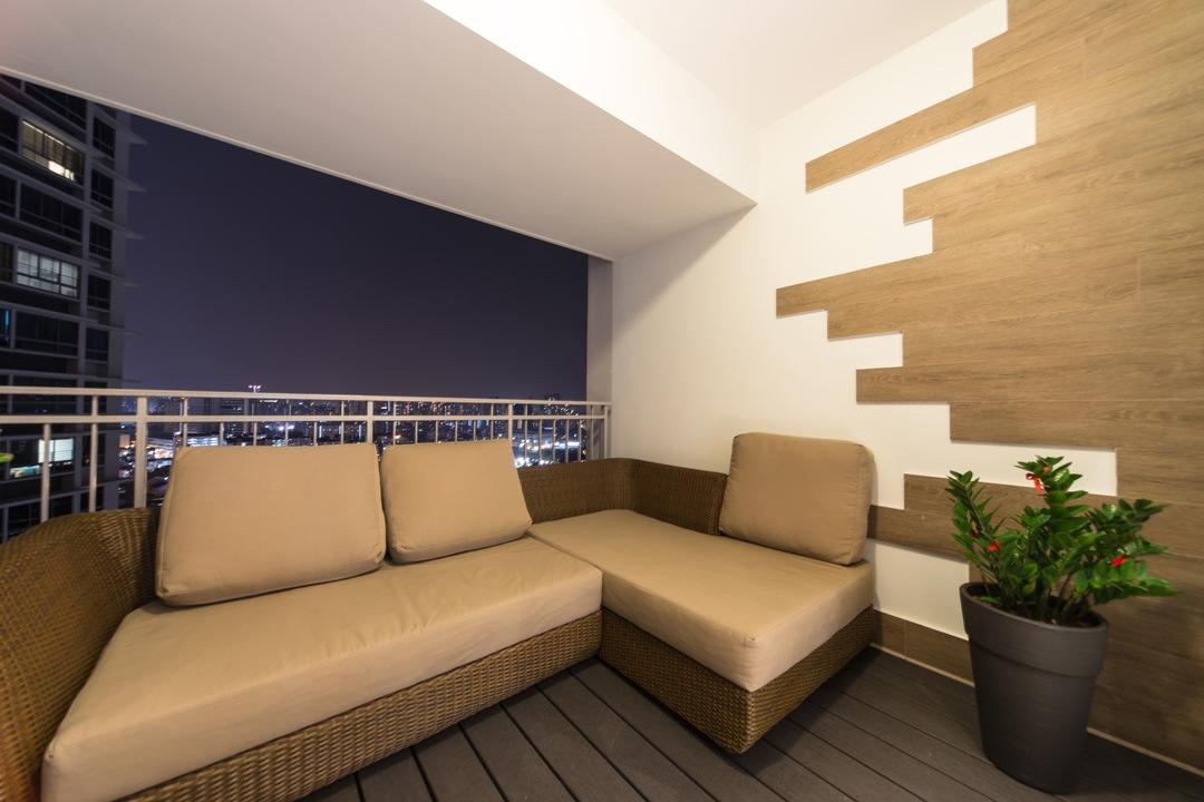 City View, Unity ID, Modern, Balcony, Condo, Outdoors, Wicker, Woven, Feature Wall, Deck Flooring, Plank Wall, Wood Laminate, Wood, Laminate, Railing, Balustrade, Neutral