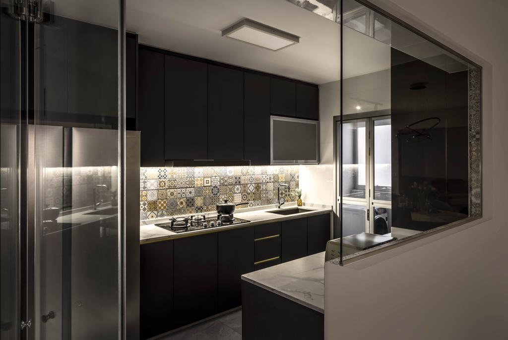Contemporary, HDB, Kitchen, Tampines Avenue 8, Interior Designer, Weiken.com