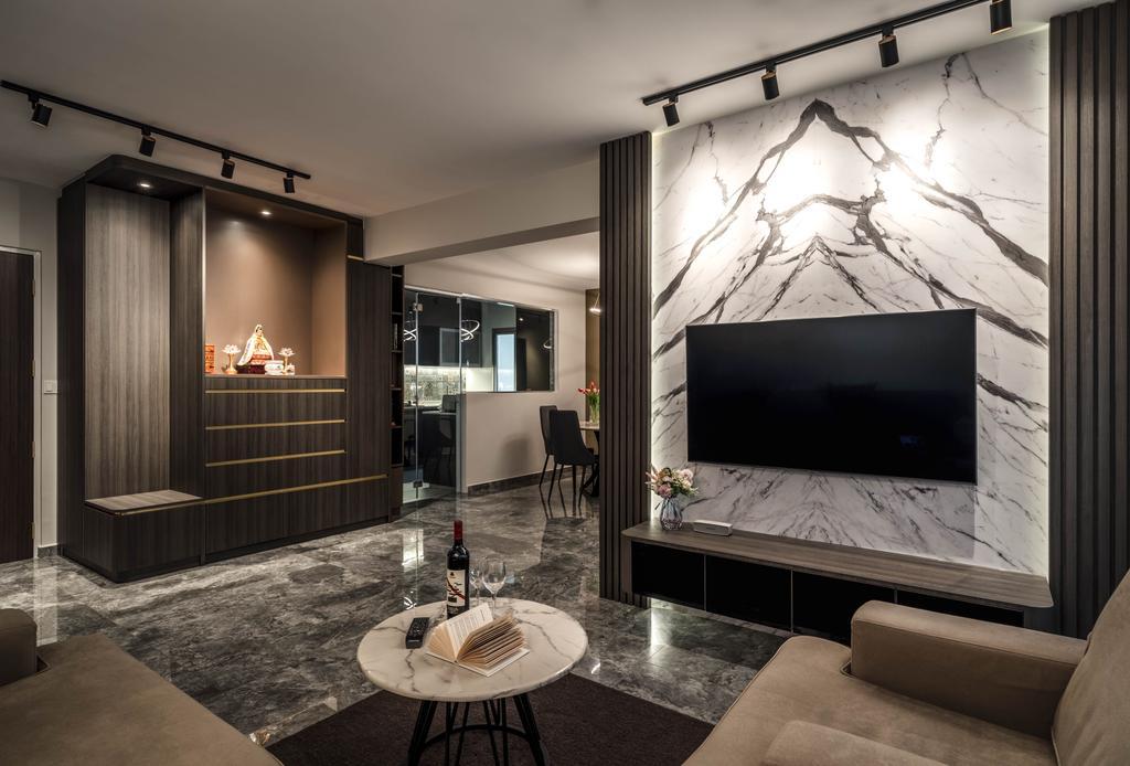 Contemporary, HDB, Living Room, Tampines Avenue 8, Interior Designer, Weiken.com