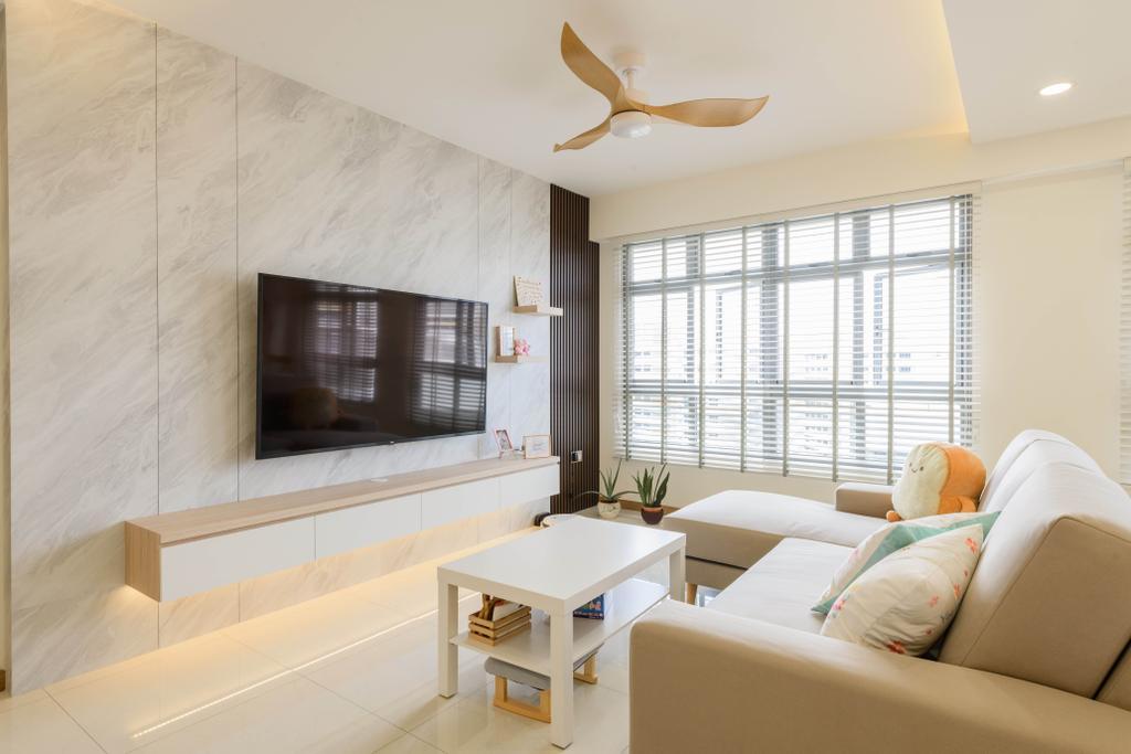 Contemporary, HDB, Living Room, Tampines Street 61, Interior Designer, Interior Times