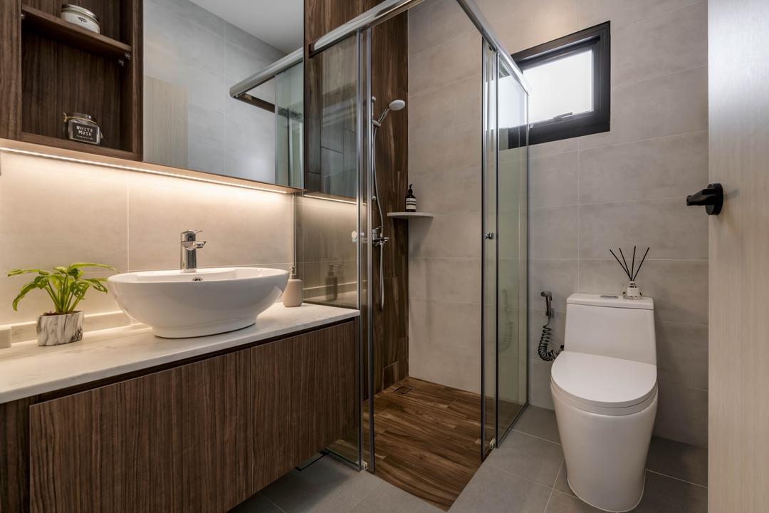 Punggol Field, Zenith Arc, Scandinavian, Contemporary, Bathroom, HDB