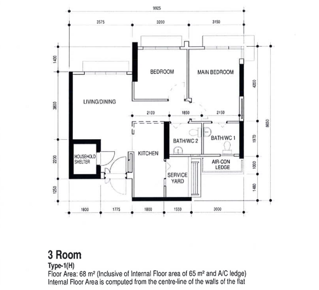 Modern, HDB, Northshore Drive, Interior Designer, Builders Plus, Contemporary, 3 Room Hdb Floorplan, 3 Room Type 1 H, Original Floorplan