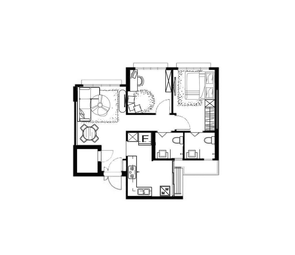 Scandinavian, HDB, Bedok North Road, Interior Designer, R Interior   R 设计团队, 3 Room Hdb Floorplan, Space Planning, Final Floorplan