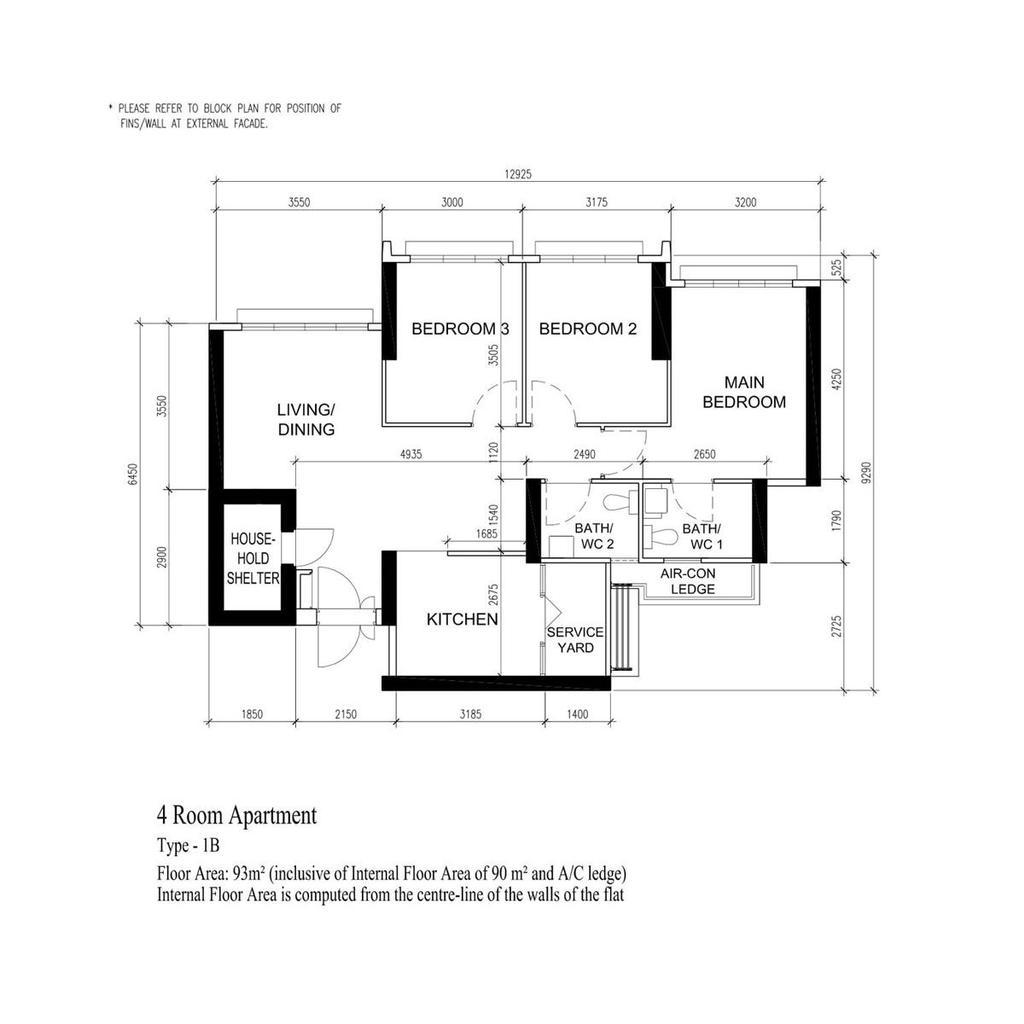 Modern, HDB, Clementi Avenue 3, Interior Designer, Charlotte's Carpentry, Minimalist, 4 Room Hdb Floorplan, 4 Room Apartment, Type 1 B, Original Floorplan