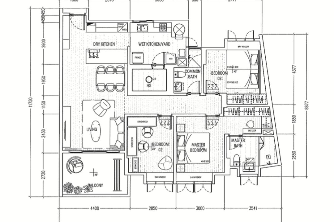 Mi Casa, Stylemyspace, Scandinavian, Condo, 3 Bedder Condo Floorplan, Final Floorplan