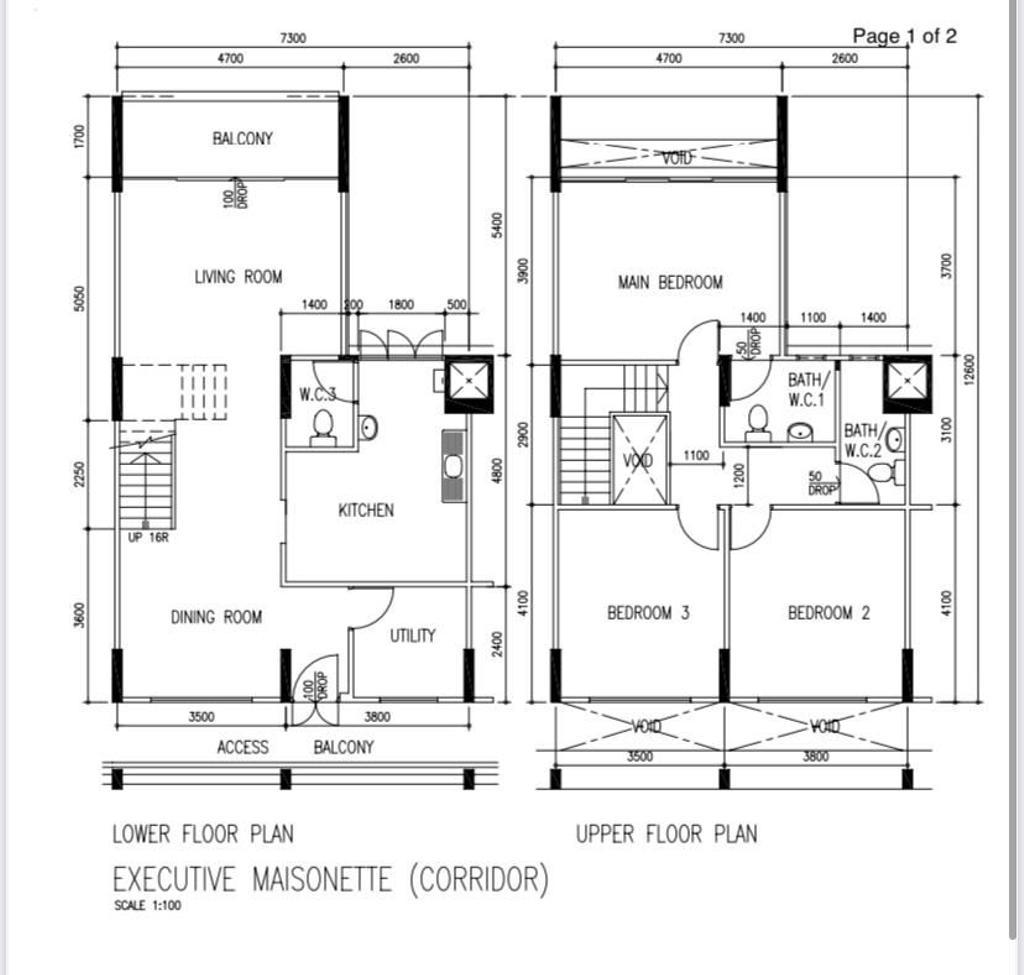 Contemporary, HDB, Serangoon Avenue 2, Interior Designer, Fifth Avenue Interior, Executive Maisonette Hdb Floorplan, Executive Maisonette Corridor, Original Floorplan