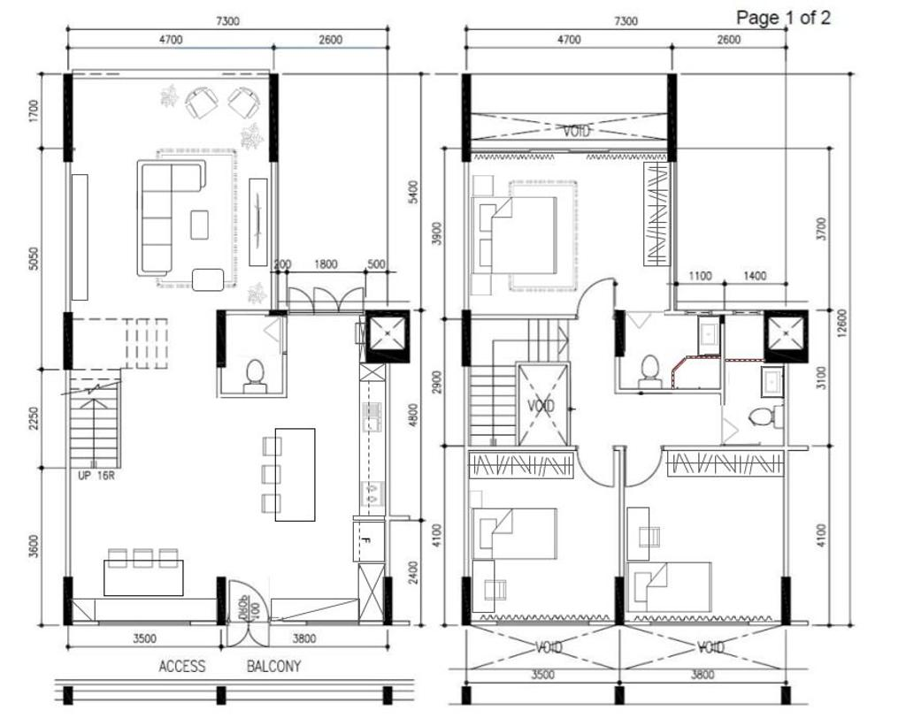 Contemporary, HDB, Serangoon Avenue 2, Interior Designer, Fifth Avenue Interior, Executive Maisonette Hdb Floorplan, Executive Maisonette Corridor, Final Floorplan