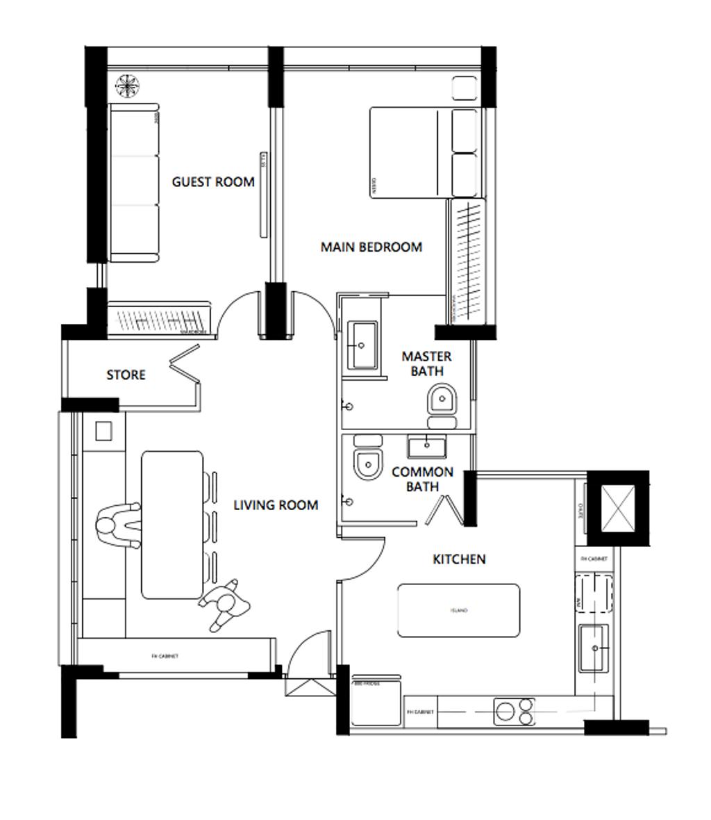 Contemporary, HDB, Potong Pasir Avenue 1, Interior Designer, KDOT, 3 Room Hdb Floorplan, Space Planning, Final Floorplan