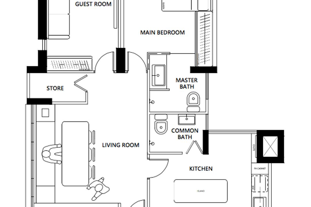 Potong Pasir Avenue 1, KDOT, Contemporary, HDB, 3 Room Hdb Floorplan, Space Planning, Final Floorplan