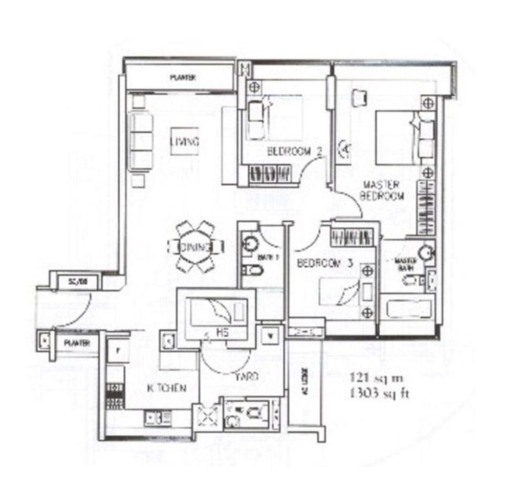 Modern, Condo, The Quintet, Interior Designer, Mesh Room Design, 3 Bedder Condo Floorplan, Original Floorplan