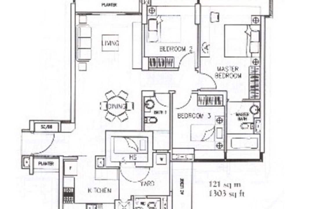 The Quintet, Mesh Room Design, Modern, Condo, 3 Bedder Condo Floorplan, Original Floorplan