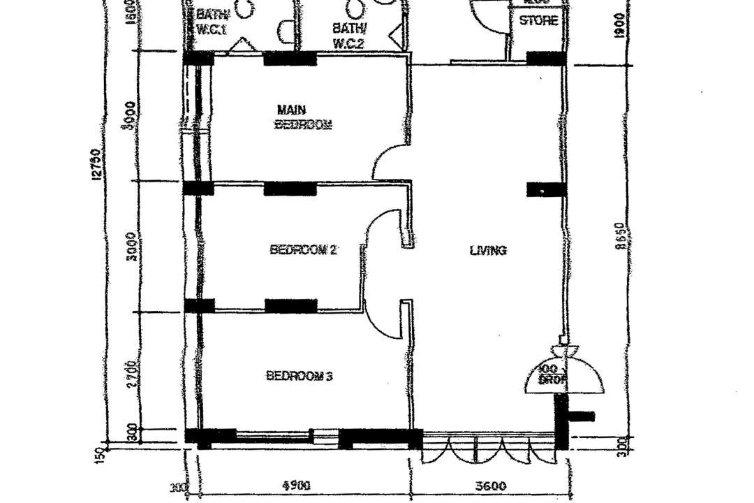 Choa Chu Kang Avenue 4, Design 4 Space, Contemporary, HDB, 4 Room Hdb Floorplan, 4 Room Corridor End, Type 9, Original Floorplan