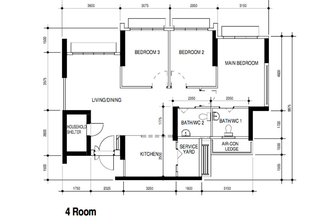 Northshore Drive, Design 4 Space, Modern, Contemporary, HDB, 4 Room Hdb Floorplan, 4 Room Type 3 H, Original Floorplan