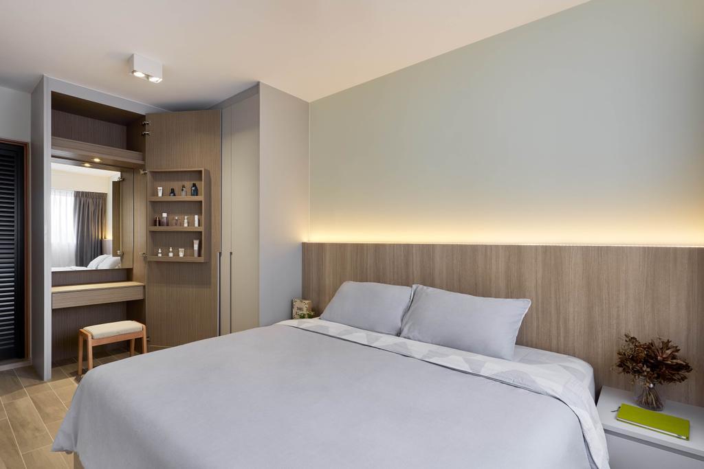 Contemporary, HDB, Bedroom, Ang Mo Kio Street 23, Interior Designer, Charlotte's Carpentry, Vanity, Concealed Storage, Hidden Storage, Storage