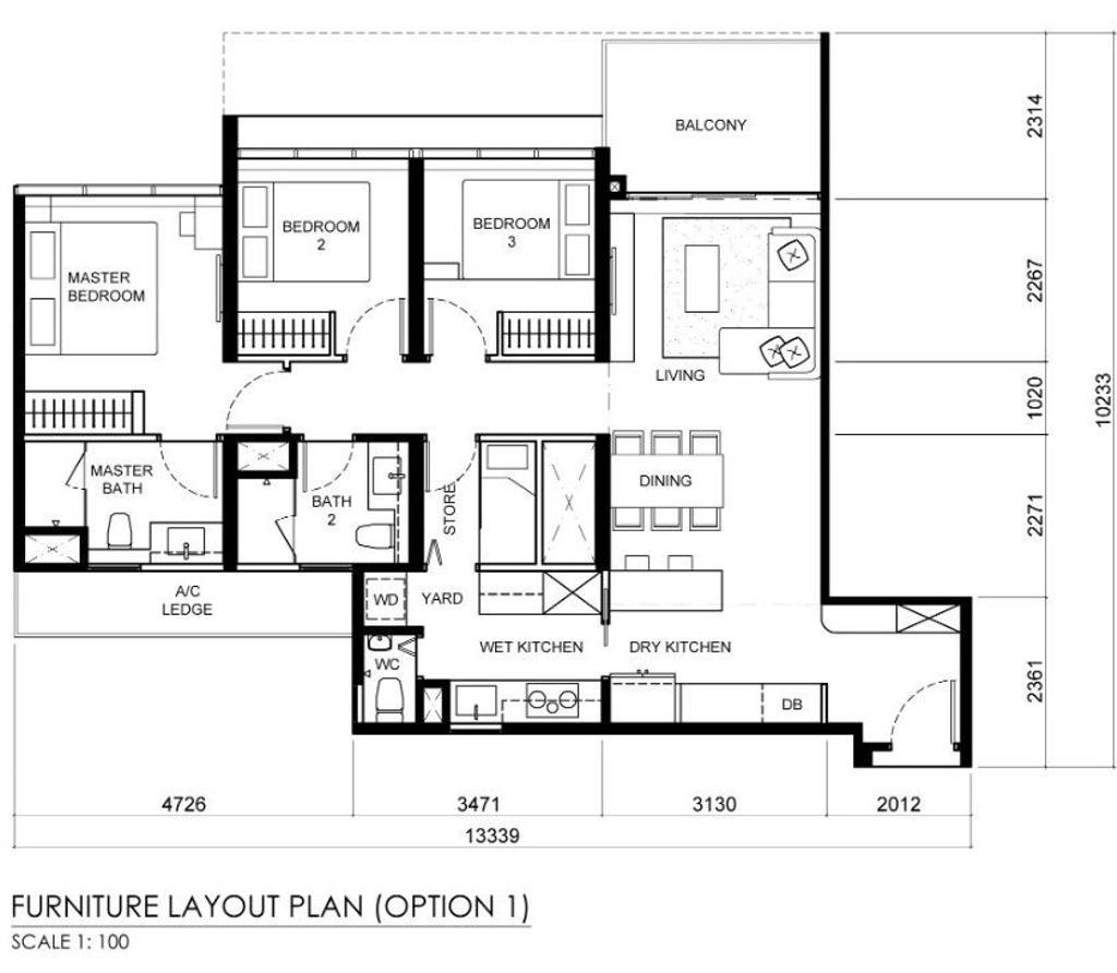 Contemporary, Condo, The Tapestry, Interior Designer, Posh Home, Scandinavian, 3 Bedder Condo Floorplan, Final Floorplan