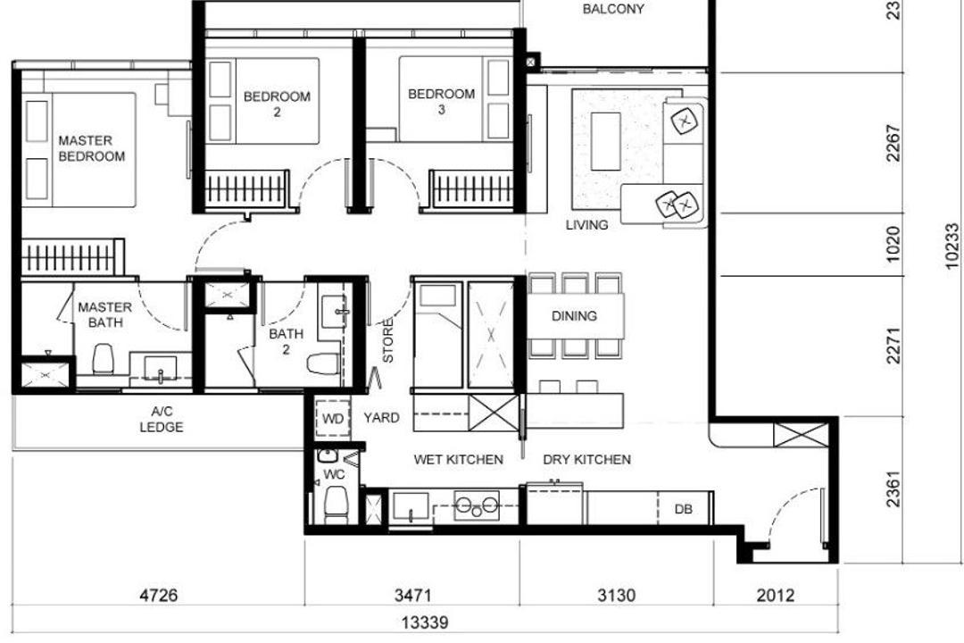 The Tapestry, Posh Home, Contemporary, Scandinavian, Condo, 3 Bedder Condo Floorplan, Final Floorplan