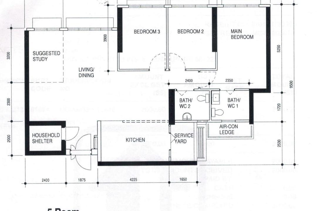 Ang Mo Kio Street 23, PRDT Interiors, Contemporary, HDB, 5 Room Hdb Floorplan, 5 Room Type 1 H, Original Floorplan