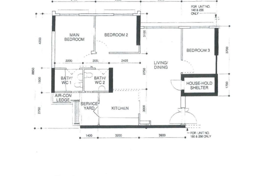 Northshore Drive, United Team Lifestyle, Scandinavian, HDB, 4 Room Hdb Floorplan, 4 Room Apartment, Type 1 B, Original Floorplan