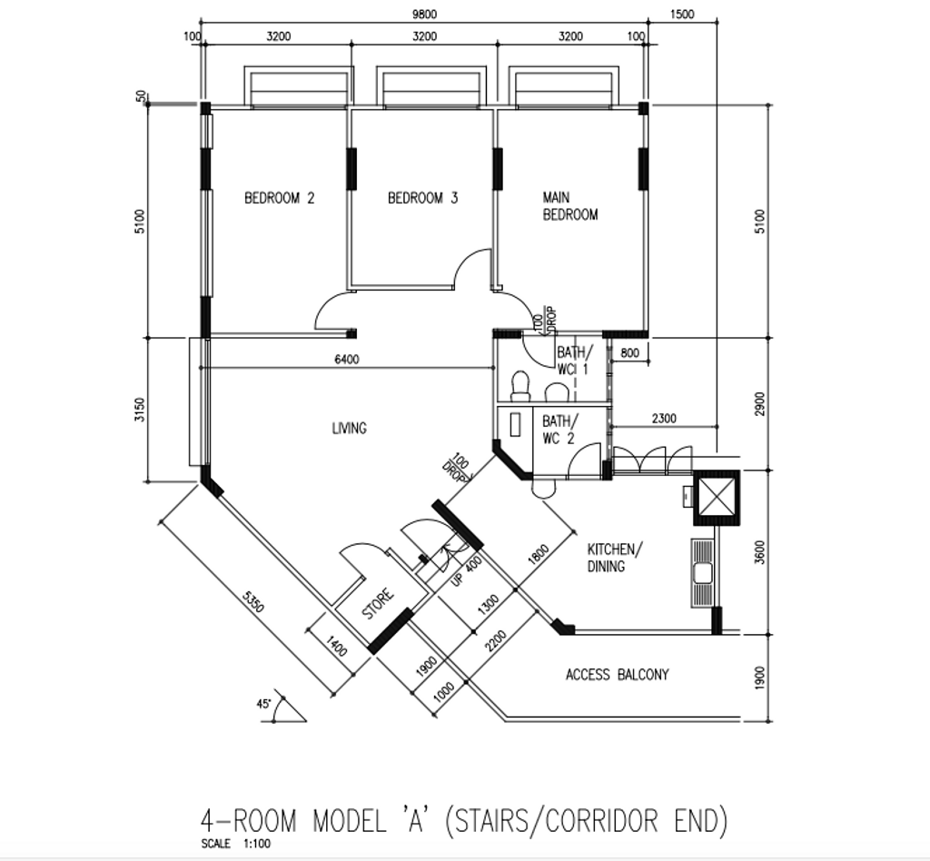 Contemporary, HDB, Living Room, Jurong West Street 42, Interior Designer, Apartment, 4 Room Hdb Floorplan, 4 Room Model A Stairs Corridor End, Original Floorplan