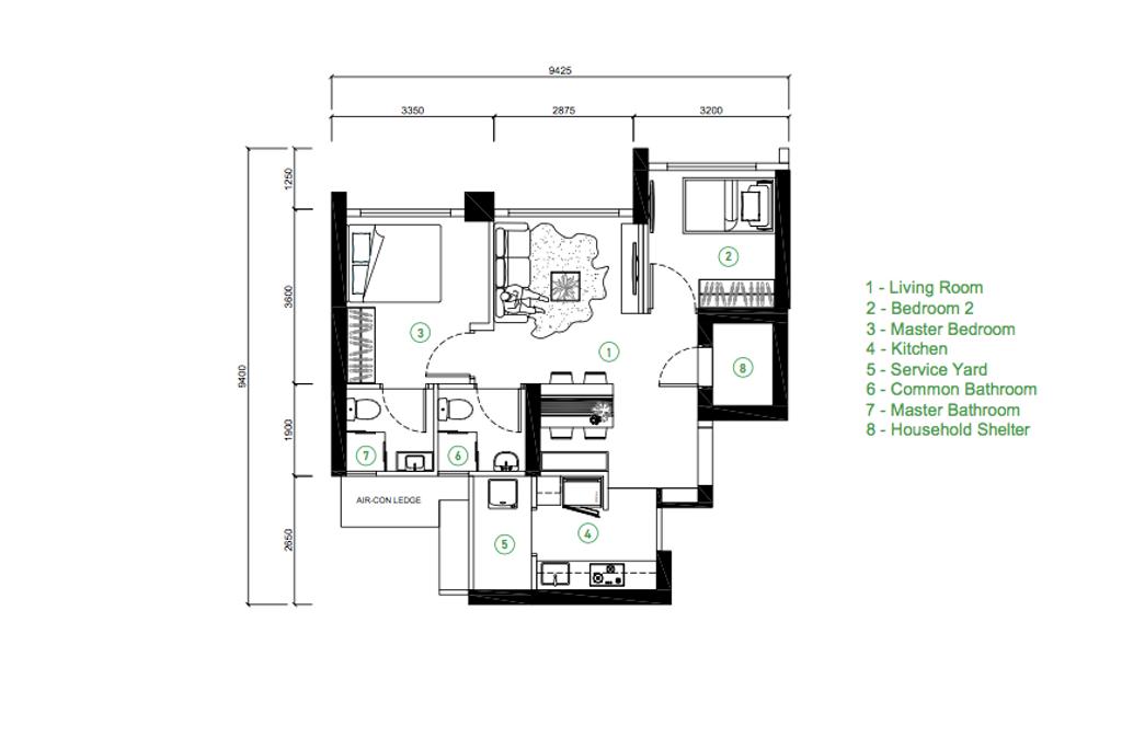 Contemporary, HDB, Skyparc @ Dawson, Interior Designer, Sozo Concept Studio, 3 Room Hdb Floorplan, Final Floorplan