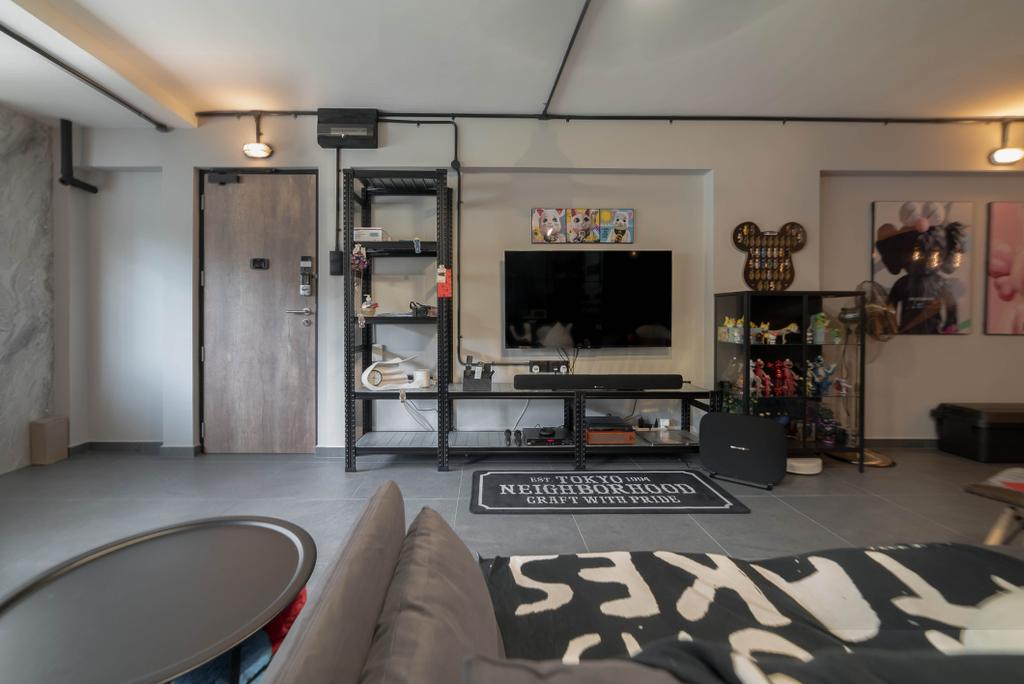 Contemporary, HDB, Living Room, Simei Street 1, Interior Designer, Kingsley Interior, Industrial