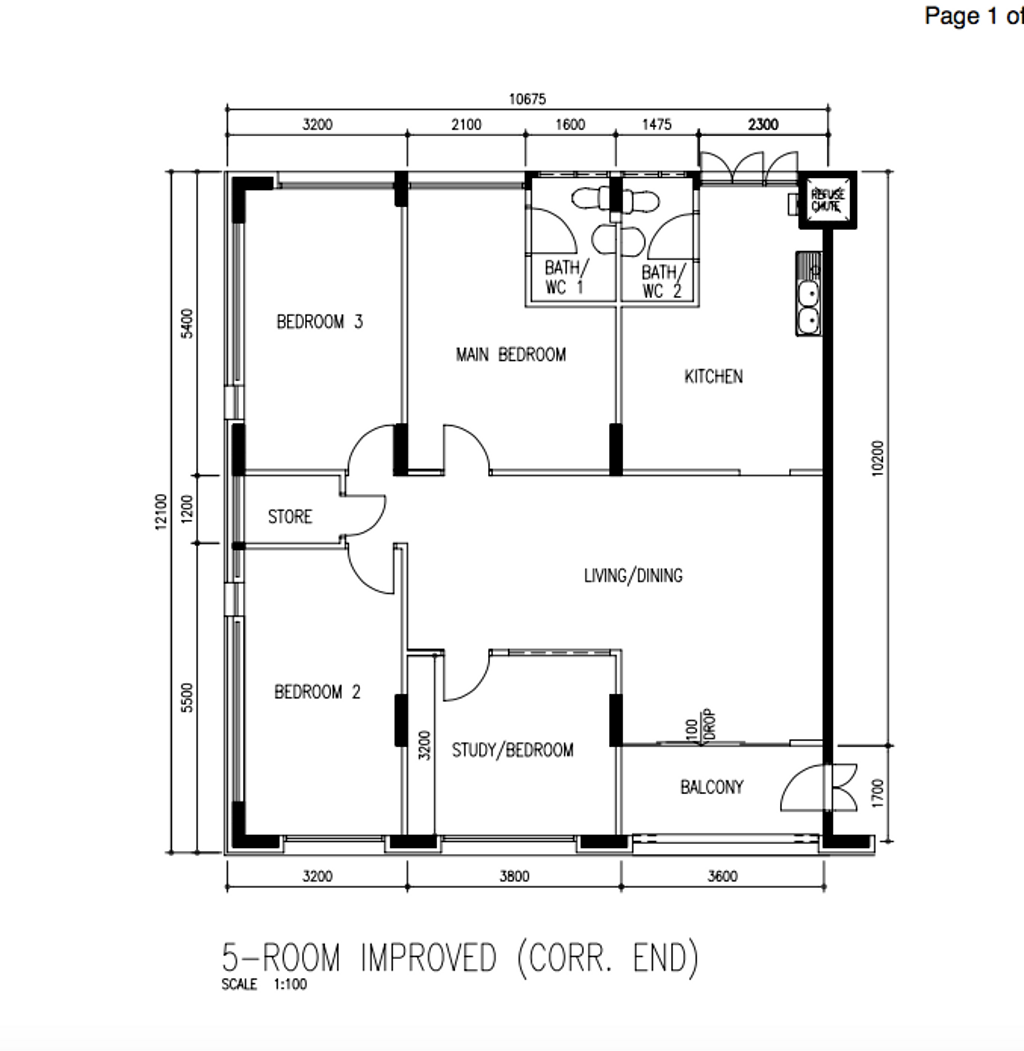 Contemporary, HDB, Jurong West Street 91, Interior Designer, Ethan Interiors, 5 Room Hdb Floorplan, 5 Room Improved Corr End, Original Floorplan