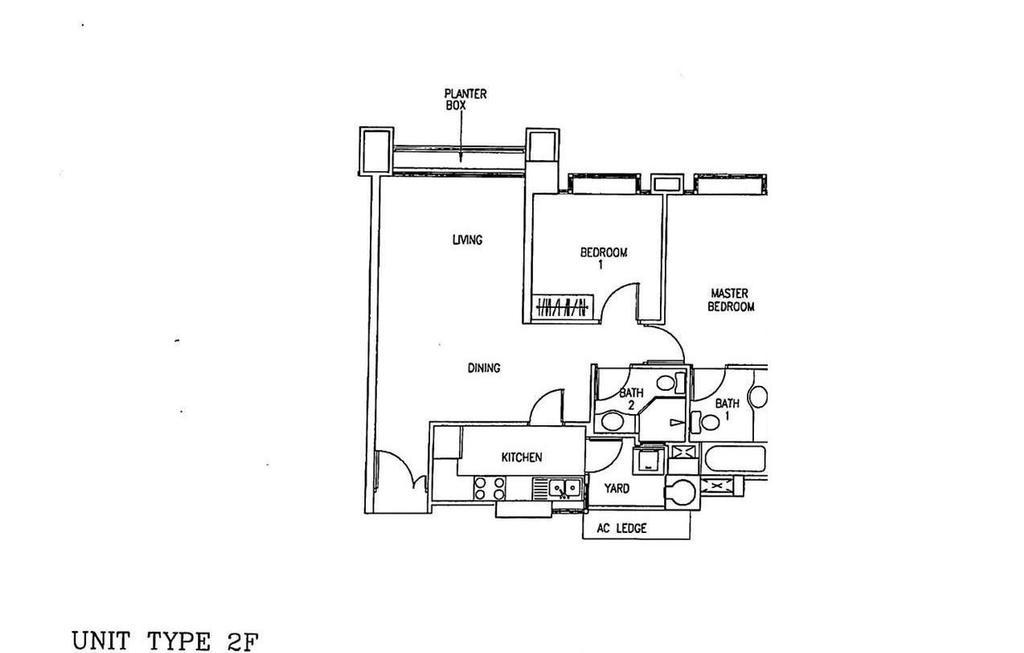 Contemporary, Condo, The Gardens At Bishan, Interior Designer, Design 4 Space, 2 Bedder Condo Floorplan, Unit Type 2 F