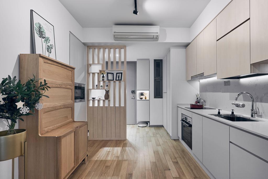 Scandinavian, Condo, Kitchen, Riversails, Interior Designer, Charlotte's Carpentry