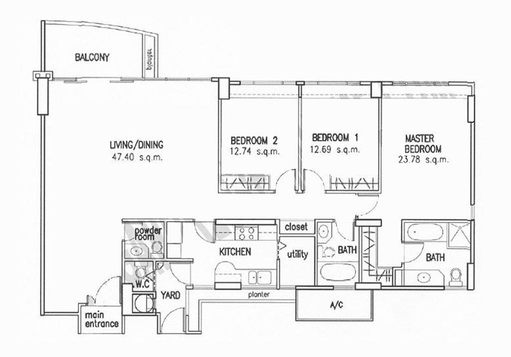 Contemporary, Condo, Thomson 800, Interior Designer, Atum Interior, 3 Bedder Condo Floorplan, Original Floorplan