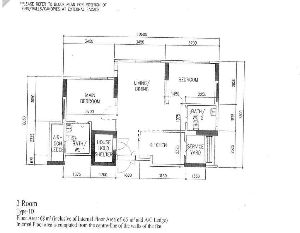Eclectic, HDB, Bidadari Park Drive, Interior Designer, Zenith Arc, Contemporary, 3 Room Hdb Floorplan, 3 Room, Type 1 D, Original Floorplan
