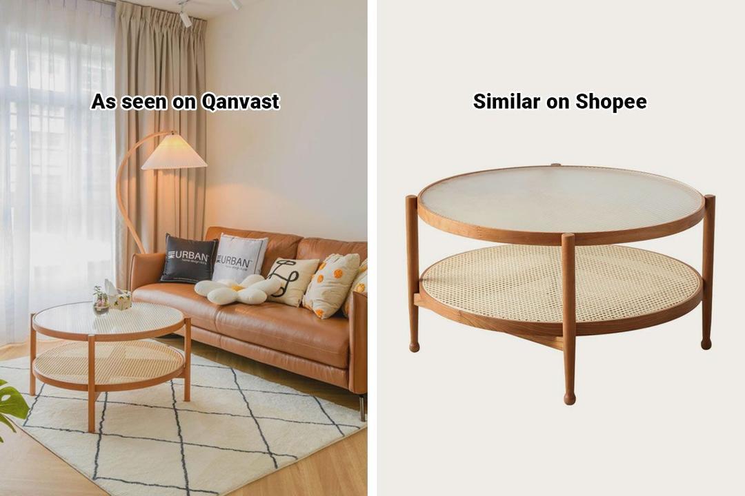 Shopee Home Qanvast's Picks Scandinavian Rattan Glass Coffee Table