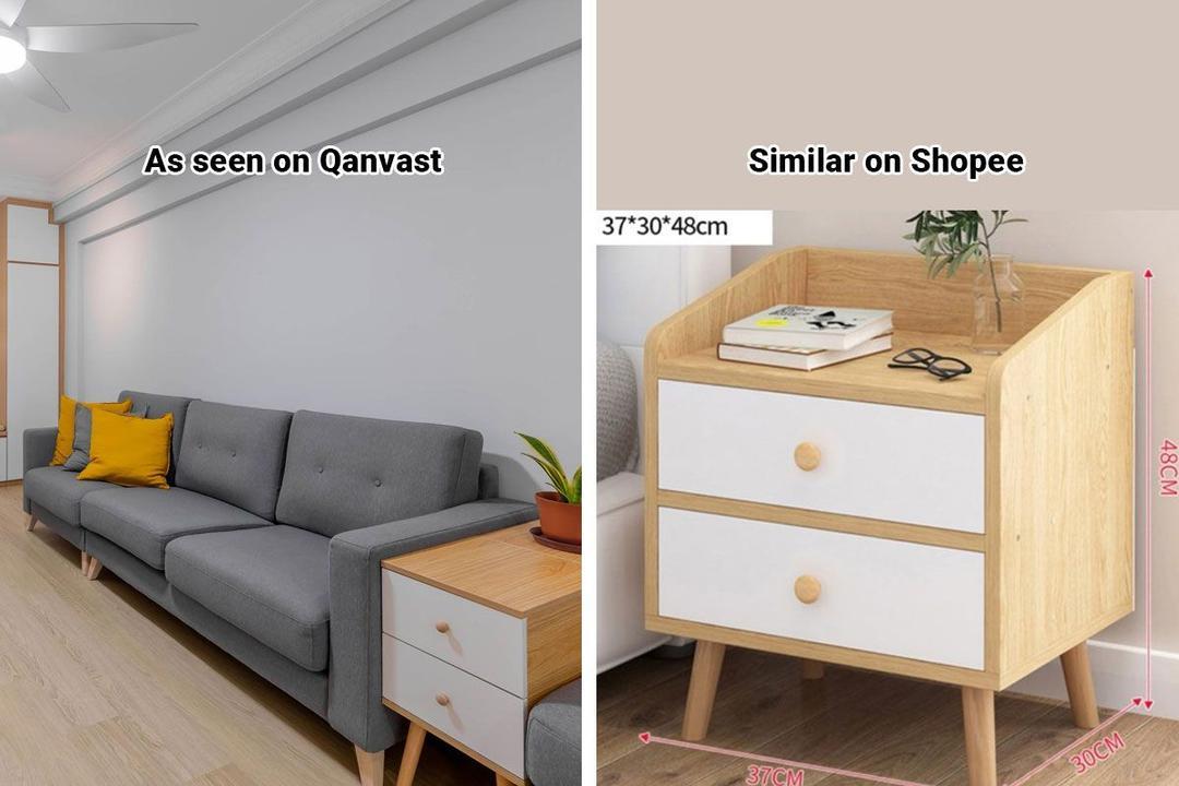 Shopee Home Qanvast's Picks Scandinavian Bedside Table