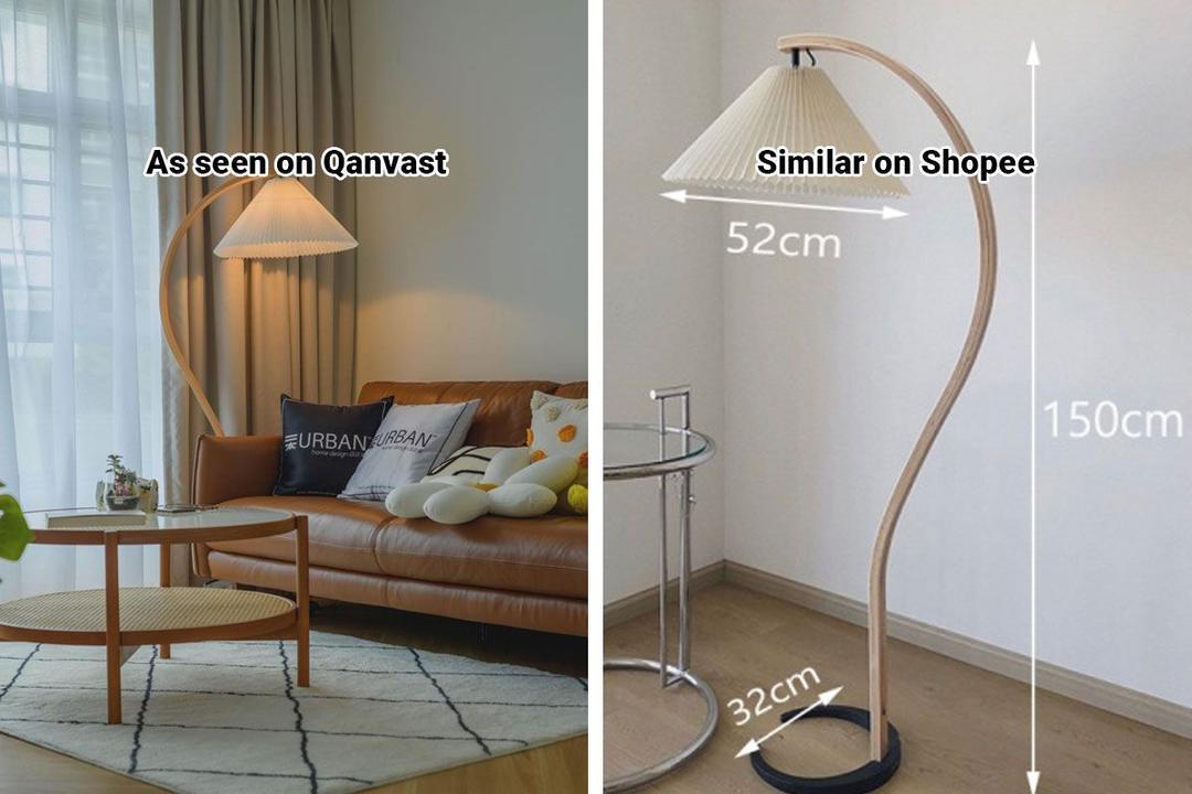 Shopee Home Qanvast's Picks Scandinavian Vintage Pleated Floor Lamp