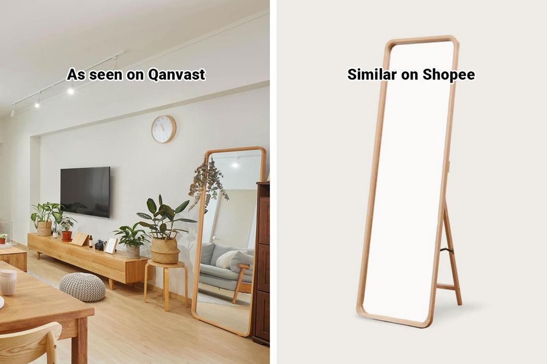 Shopee Home Qanvast's Picks Scandinavian Wooden Standing Mirror